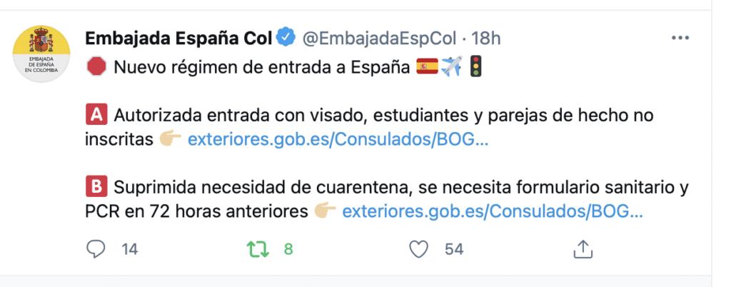 ¿Se puede viajar de Colombia a España HOY?